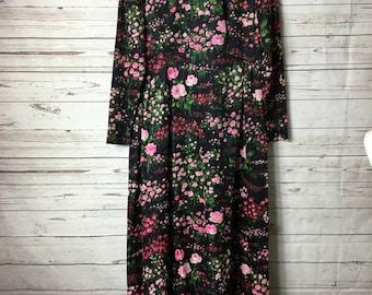 Nancy Greer Vintage 60's Dress Floral Print High Necked Long Maxi Dress Size 16