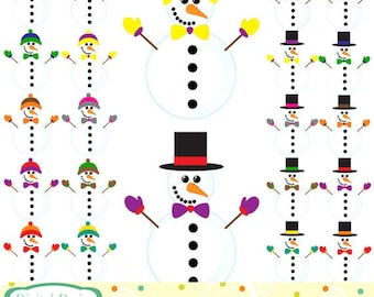 Snowmen, 20 clip art designs. INSTANT DOWNLOAD for Personal and commercial use.