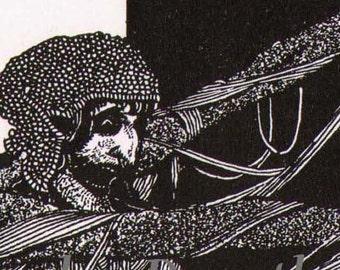 Lady Madeline Of Usher Harry Clarke 1933 Edgar Allan Poe Original Vintage Illustration To Frame Black & White