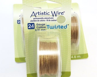 Gold Twisted Wire, Brass Artistic Wire, 24 Gauge Twisted Gold Wire, 5 Yards, Non-Tarnish Brass Wire for Wire Wrapping, Item 1001wr