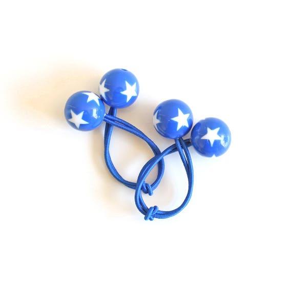 BLUE STARS. Bobble Hair ties. Elastic hair ties. Blue with white stars. Retro style hair bobbles.