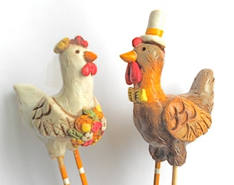 Wedding Cake Topper Chickens In Love for your Rustic Country Wedding