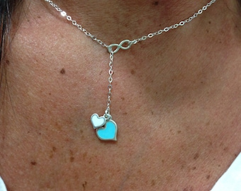 Valentines day gift - Tiny infinity  and colorful hearts  lariat necklace - heart necklace - 925 solid sterling silver