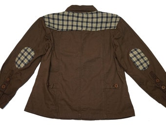 Cozy Brown Jacket w/ Plaid Accents (Adult M/L)- Upcycled by Rethreaded