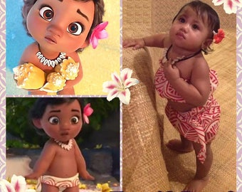 Baby Moana Set. Baby Moana Inspired Set. 1 Tube Top & 1 Little Sarong Or Necklace, Flower Or Full Set. Babies And Toddlers, Birthday Party.