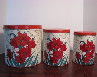 Vintage Set of Iris Flower Kitchen Canisters