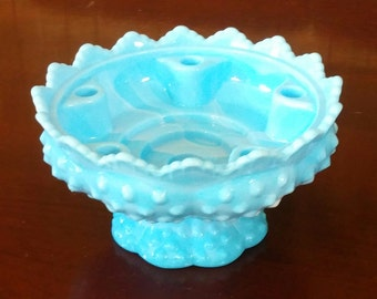 Fenton Blue Marble Hobnail Candlebowl