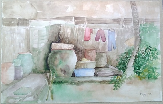 """AIR DRY 15x9.5"""" watercolor on paper, live painting, Mekong Delta (Trà Vinh), original by Nguyen Ly Phuong Ngoc"""