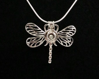 Beautiful Dragonfly Pearl Cage with Oyster and Chain