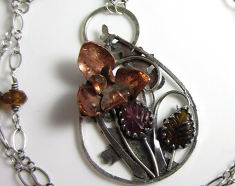 Un Petit Bouquet Necklace - Hand-pierced sterling silver with copper orched and carved tourmaline leaves