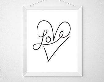 Love Typography, Love Art Print, Word Art, Heart Artwork, Wall Art Prints, Love Printable, I Love You, Art Download, Prints, In the Hallway
