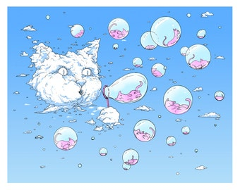 Print: Bubble Cat - Blue, Funny Cat, Cloud Cat, Cat Art Print, Cat Lover Gift, Cat Art, Cat Artwork, Cat Gifts