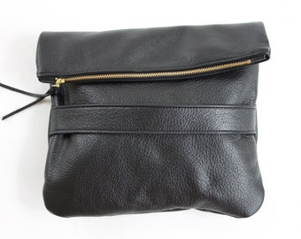 The Mary Foldover Clutch // Black