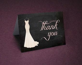 Bridal Shower Thank You Cards • Chalkboard Shower Thank Yous • Bridal Shower Thanks • Wedding Shower Thank You Card • Unique Thank You Card