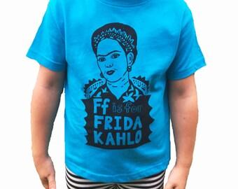 Feminist Toddler Shirt: F is for Frida Kahlo T-Shirt & Screenprint Gift Set
