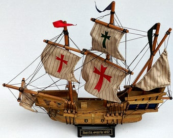 Spanish galleon etsy large 1950 vintage 20 nautical wooden ship model cloth sails santa maria 1492 christopher columbus publicscrutiny