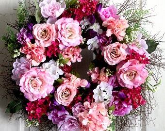 Extra Large Peony and Roses spring wreath for front door, small wreath, wreathe, Summer Wreath, gift for Mom, wedding wreath