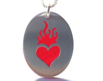 flaming heart pendant necklace heart necklace sterling silver red heart record vinyl