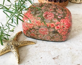 Paper mache pink and gold floral Trink Box