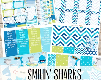 SMILIN' SHARKS// Planner STICKERS Individual Sheets sized for the Erin Condren Life Planner