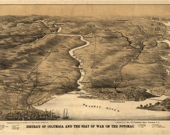 Civil War Map; DC and the Seat of War on the Potomac; Antique Map