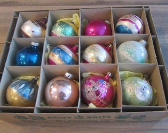 Box Of twelve Vintage Mercury Glass Christmas Ornaments Shiny Brite & Poland Hand Painted Stencil And Solid ornaments