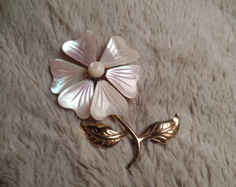 1960's Carved Mother-of-Pearl and Sterling Flower Brooch