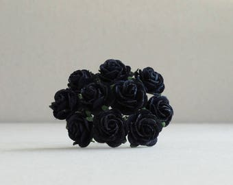 20mm Black Paper Roses - 10 mulberry paper flowers with wire stems [274]
