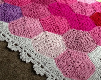 Crochet blanket Pattern tutorial/BabyLove Brand/CypressTextiles/Geometric Lace Blanket/hexagon motif modern lace pixel easy versatile unique