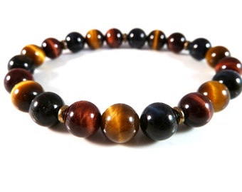 Multi Color Tigers Eye Stretch Bracelet Smooth Round 8mm Beads Brass Plated Spacers