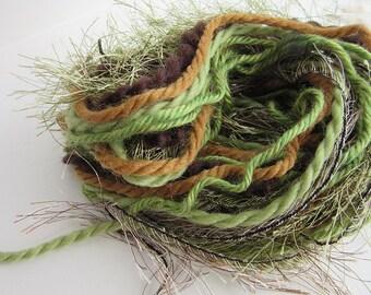 Fiber Art Yarn Bundle - Fringe Yarn -  Forest Floor 1 - 16m - 17.5yds - Green and Brown