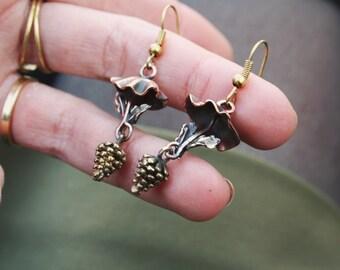 Kupfer Pilzchen & Löwenzahn Ohrringe
