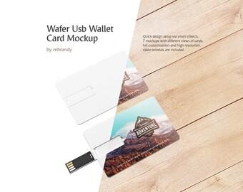Wafer USB Wallet Card Mockup (Flash Mock Up, Card Mock-up, Netstick Mockup)