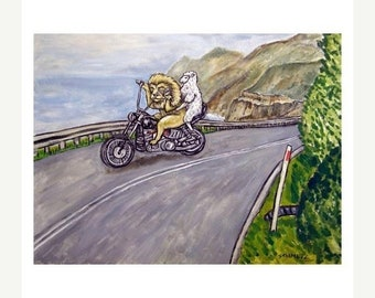 The Lion and the Lion Driving a Motorcycle Art Print