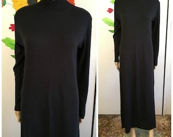 80s Black Italian Wool Sweater Dress Vintage Goth Sweater Dress Size Medium K STUDIO Mock Turtleneck Mod Artist Punk Rock 1980s