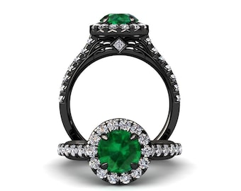 Black Gold Emerald Ring 1.50 Carat Emerald And Diamond Ring In 14k or 18k Black Gold Style Number WH1GBK