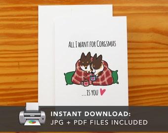PRINTABLE Tricolor Corgi Snuggle Greeting Card | Printable Holiday Cards | Corgis I Love You Greeting Card | Instant Download JPG PDF