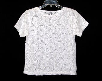 Vintage 80s 90s Sheer Stretchy White Floral Lace T-Shirt- Size L