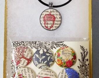 """Booklover's Magnetic Bijou Necklace 1"""" Pendant w/  7 interchangable Buttons!"""