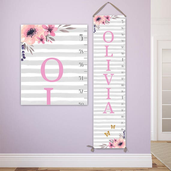 Growth Chart Floral - Personalized Canvas Growth Chart, Floral Nursery Decor  - GC2009G
