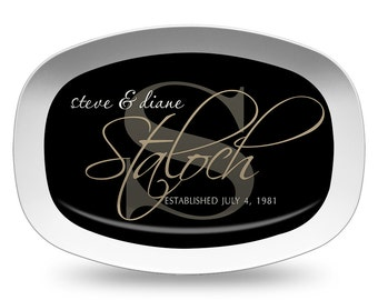 Black Family Name Platter, Personalized Melamine Platter, Personalized Serving Platter, Wedding Gift Platter, Monogram Serving Tray