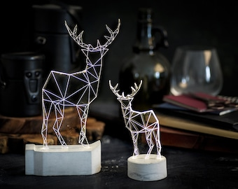 Fawn concrete LED lamp set , 2 Deer / Stag  lamps gift set