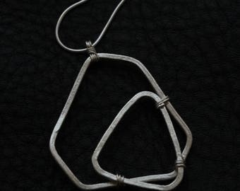 Handmade silver geometric shape pendant on silver snake chain necklace (N0092)