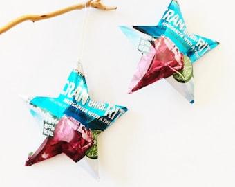 Cran-Brrr-Rita Stars Bud Light Christmas Ornaments Aluminum Can Upcycled