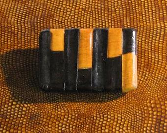 Wooden Brooch geometric lines