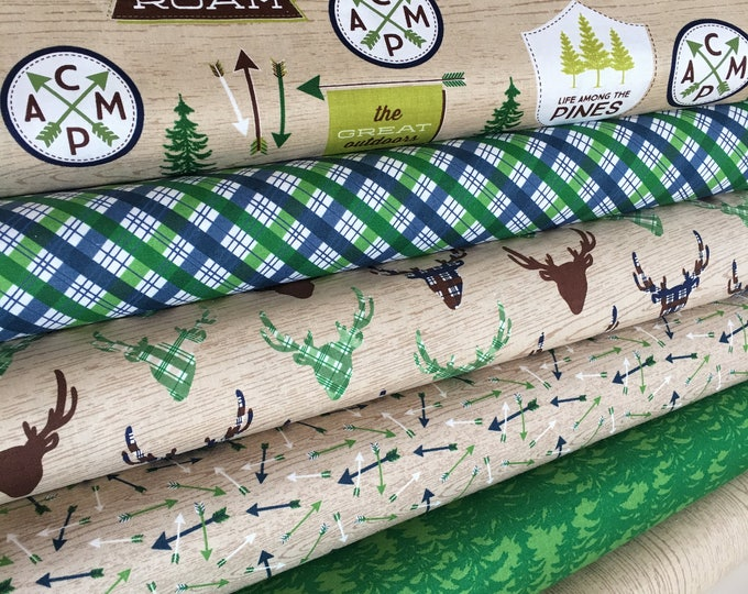 Outdoors Fabric, Camping Quilt, Arrow, Tree, Boy Room Decor, Tent, Boy Scout, Fabric Bundle of 6- Choose the Cut