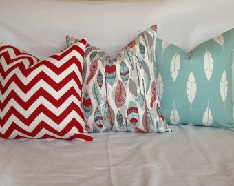 Couch Pillows, Red and Light Blue Decorative Throw Pillows, Accent Pillows, Home Decor, Zippered Pillows