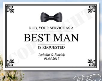 Personalised Best Man | Groomsman | Usher | Ring Bearer | Wedding | Thank you | Ceremony | Bride and Groom | Post Card ANY SIZE A4 A5 A6 A7