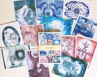 Postkarten-Set 12+1  Recyclingpapier Klimaneutral gedruckt in Berlin 12 SIGNS