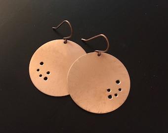Handmade Copper Round Disc Earrings